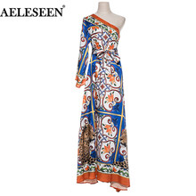 AELESEEN Vintage Irregular Dress Print 2018 Autumn Fashion One-Shoulder Belt Porcelain Animal XXL Printed Loose Long Maxi Dress(China)