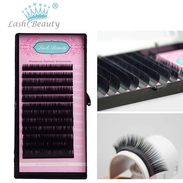 1 Case010 Black Mixed Tray False Eyelash Extensions Individual