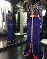 Mangas largas de Raso Bordado Vestido de Noche Musulmán Árabe Marroquí Caftán Caftán Marroquí de Lujo Vestido Formal Del traje de soirée