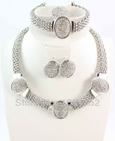 Fashion Set Silver Plated Vintage Clear Rhinestone Necklace Set 4Pcs Top Quality Bracelet Earring Ring Jewelry Sets for Women
