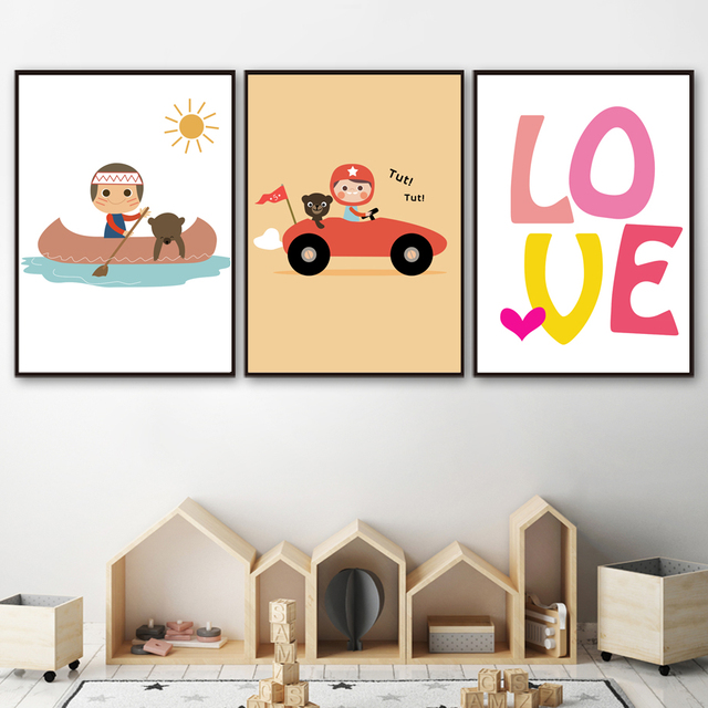 Cartoon Boy Bear Racing Car Boat Love Quote Nordic Posters And