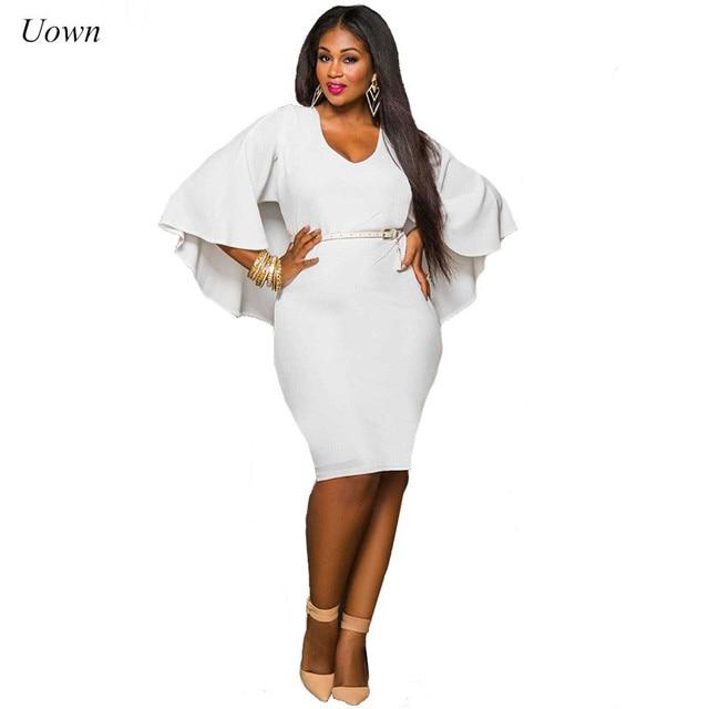 Women Summer White Dress Cloak Sleeve Bodycon Midi Dress V Neck Knee Length  Pencil Dresses Plus 5e438e7d8