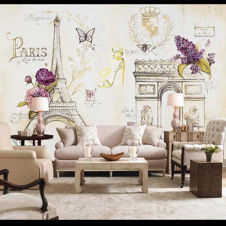 Custom Size Photo 3d Paris Iron Tower Eiffel Wallpaper