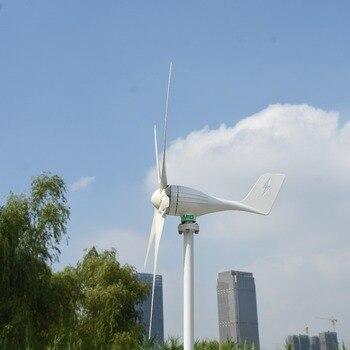 600 W 24 V 5 cuchillas horizontal viento bajo arranque generador de turbina de viento + PWM controlador de Carga inteligente impermeable