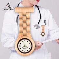 BOBO BIRD Fob Brooch Nurse Pocket Women Watches Quartz Imitation diamond Watch Ladies clock custom logo with wood case