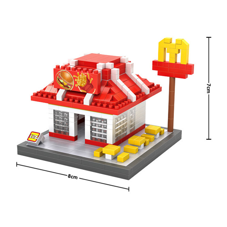 Delicious McDonald House Hamburger Coke Set Meal DIY Building Block Mini Diamond Loz Nanoblock Educational Toys for Kids Gifts