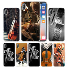 Violino Violoncelo Caso Celular para iPhone XS Max XR X 10 7 7 S 8 6 6 S Plus 5S SE 5 4S 4 5C 6 + 6 S + 7 + 8 + Disco PC Tampa Do Telefone Fundas Capa(China)