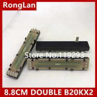 [BELLA] 8,8 cm 88mm doble potenciómetro de fader B20Kx2 B10KX2 B10K B20K B50K B100K 15MMC [cableado interno pie]. 2 unids/lote