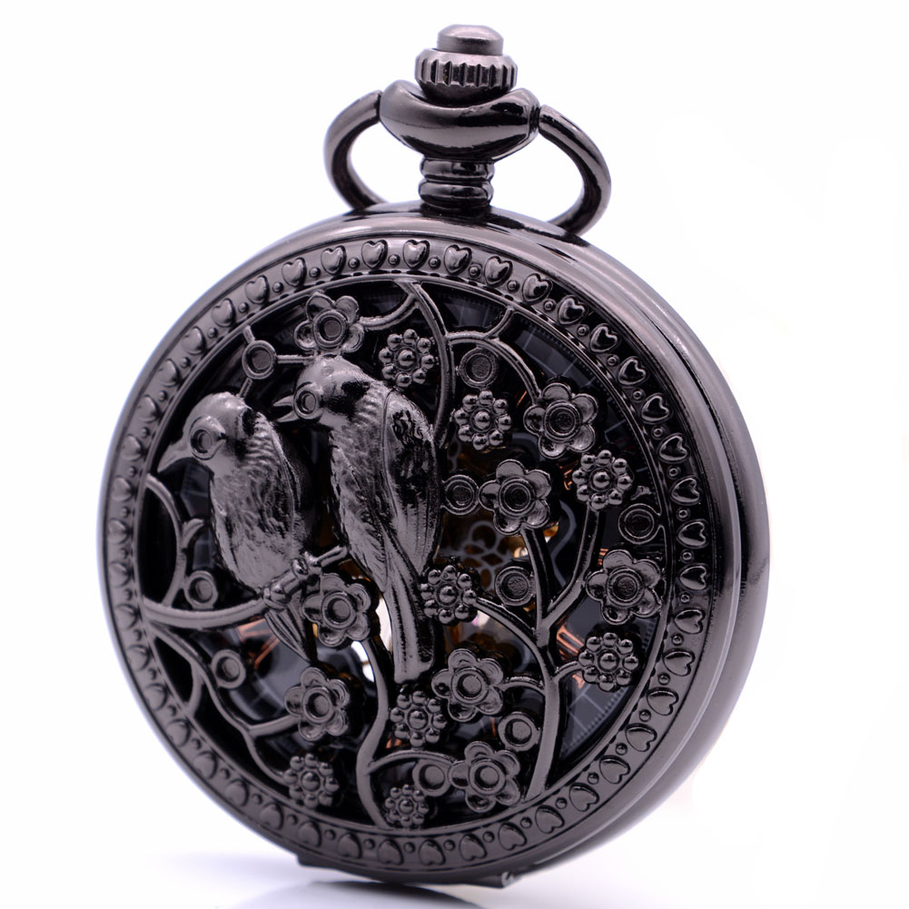 Hollow Two Magpies Swallow Hand Wind Mechanical Pocket Watch Skeleton Gears Pocket Fob Chain Gift relogio
