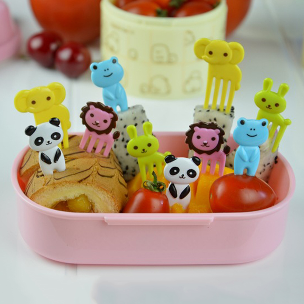 10pcs/set Cartoon Expression Fruit Fork Plastic Fruit Toothpick Children Kids Eating Cutlery Baby Flatware Accessories For Baby