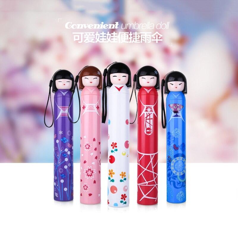 1Pcs Japanese Doll Shape Cartoon Cute Umbrella Girl Gift Metal Shelf Umbrellas Folding Student Princess Pencil Sun Umbrella Z536 in Umbrellas from Home Garden