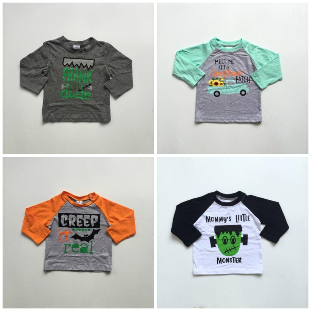 Fall Halloween Baby Boy Boutique T-shirts Clothes Mommy's Little Monster Creep Cotton Top Children Raglans Kids Wear Long Sleeve