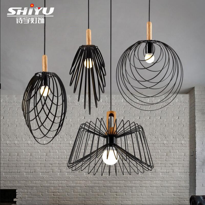 modern cage pendant light iron minimalist retro Scandinavian loft pyramid pendant lamp metal Hanging Lamp E27 Indoor free shipping lamtop compatible projector bare lamp for cp x268 cp x268a