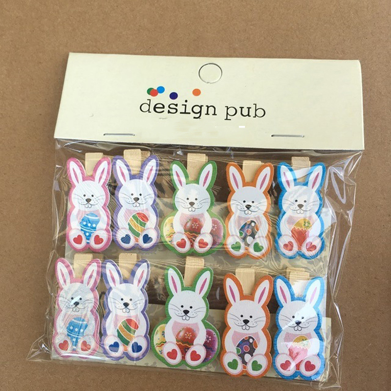10Pcs/set Wooden Photo Clips Craft Toys For Kids DIY Handmade Cartoon Rabbit Wood Clip Children Birthday Easter Party Gift