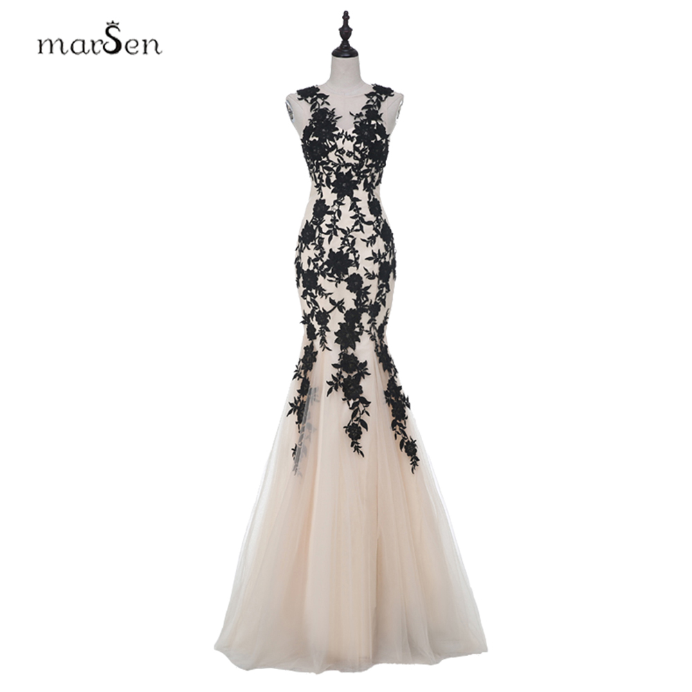 sexy black applique champagne tulle party prom dresses. Black Bedroom Furniture Sets. Home Design Ideas
