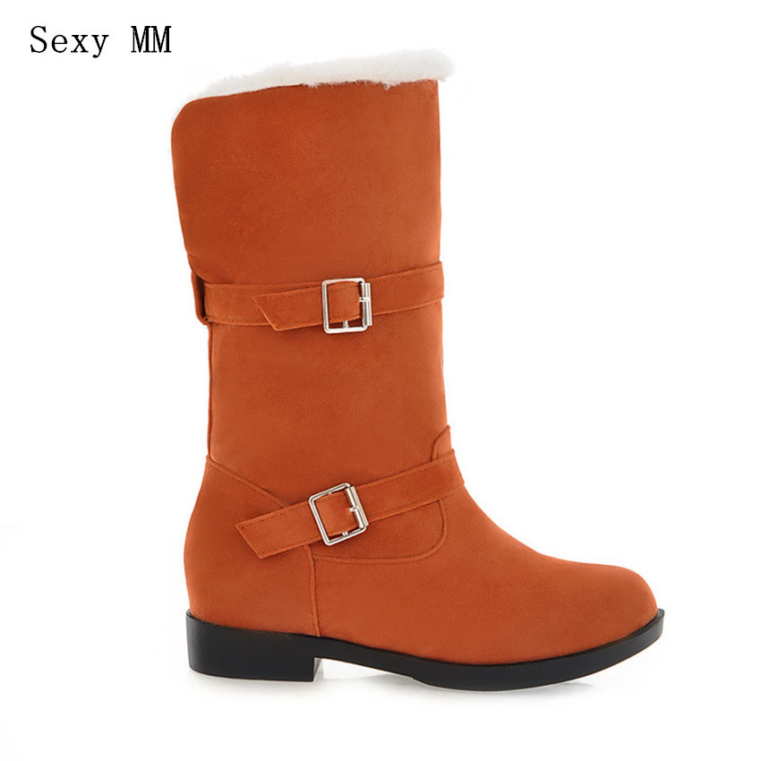 Winter Warm Hoof Low Heel Mid-Calf Snow Boots Women Shoes Short Boots Woman botas femininas botte femme Plus Size 34-40
