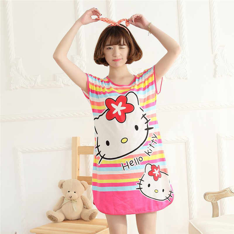 ... BabYoung Pyjamas Girls Loose Cartoon Panda Mouse Sleep Dress Sleepwear  Nightgown Home Wear Female Women pijamas ... f56599d75