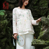 LZJN Chinese Style Women Blouse 2019 Spring Summer Retro Cheongsam Tang Suit Tops Linen Blouse Handmade Button Shirt One Size