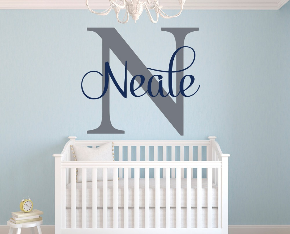 Customize Initial and Name Nursery Room Wall Decor Sticker DIY Home  Decoration Girls Boys Room Wall
