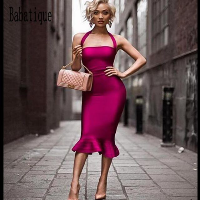469b87c47 2017 mulheres vestido Bandage Vestido Sexy Fora Do Ombro Halter sereia  evening Midi vestido Clube Sem