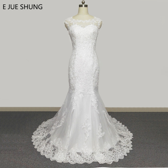 E JUE SHUNG White Vintage Lace Appliques Cheap Mermaid Wedding ...