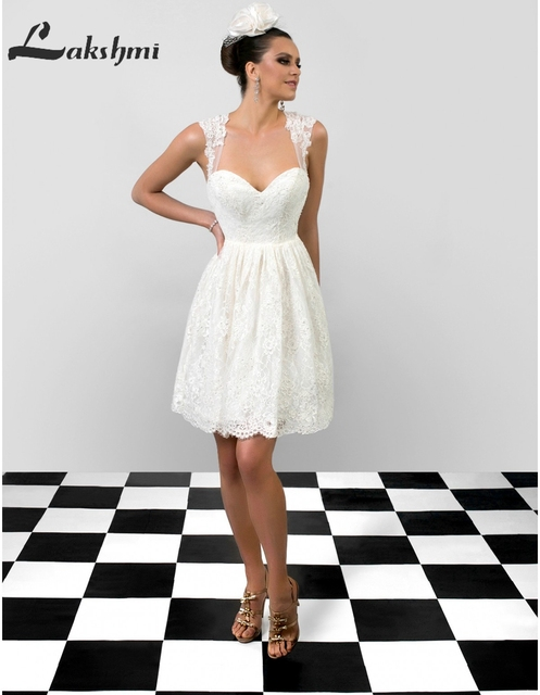 Simple Scalloped A Line Short Wedding Dresses With Open Back White Ivory Lace Mini