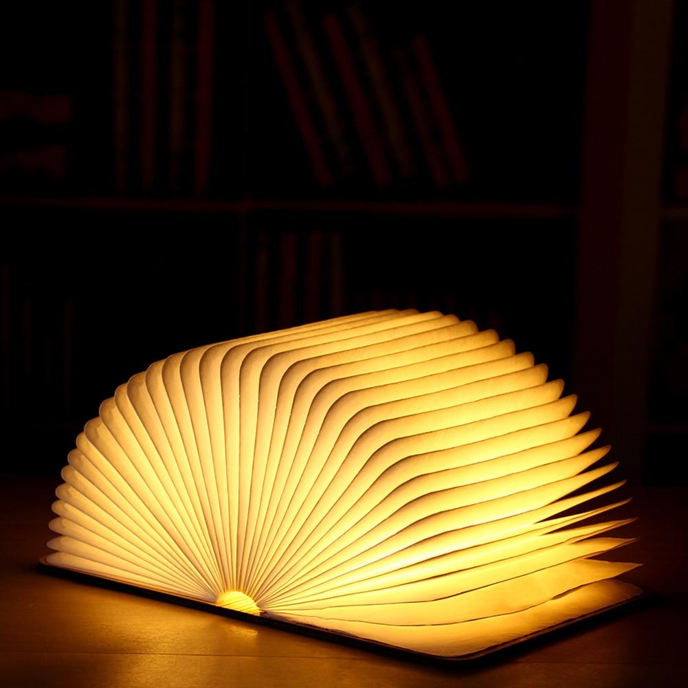 Usb Rechargeable Led Foldable Wooden Book Shape Desk Lamp
