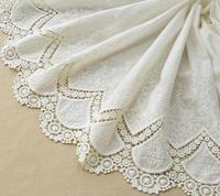 Bilateral Symmetry White Cotton Openwork Embroidery Lace Fabric Skin Friendly Soft Summer Dress Lace Fabric Width