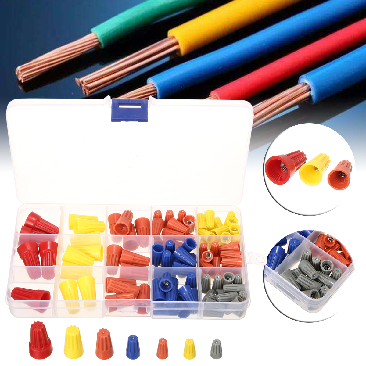 102pcs P1 P2 P3 P4 P6 Wire Cable Twist Connector Electrical Nut Spring Cap Insulation Thread Terminals Assortment Set