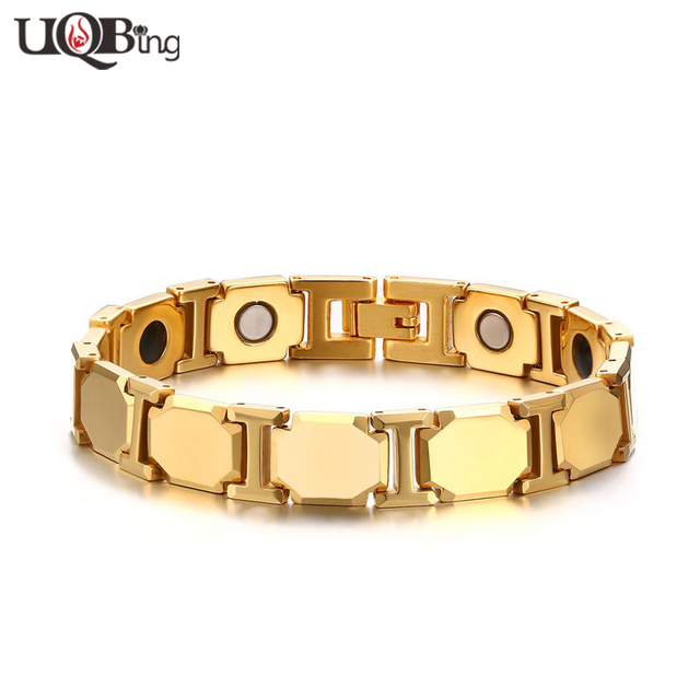 2016 New Fashion Gold Plated Tungsten Carbide Hologram Bracelets Men's Magnetic Therapy Body Health Bracelets