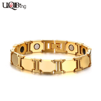 2016 New Fashion 18K Gold Plated Tungsten Carbide Hologram Bracelets Men S Magnetic Therapy Body Health
