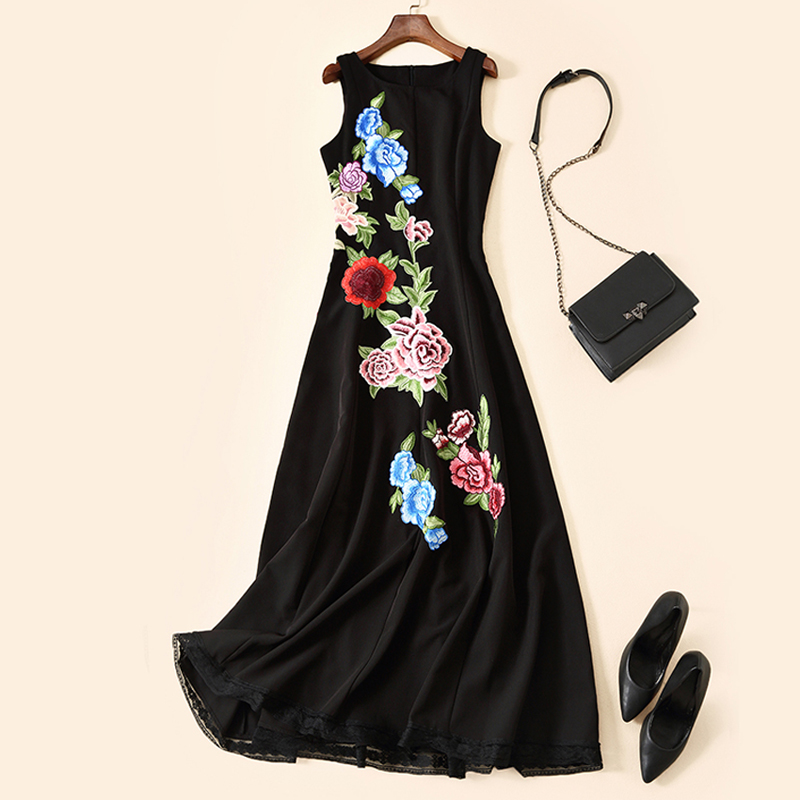 High end Sleeveless Embroidered Vintage Dress 2019 Summer New Women s Beautiful Dresses High end Custom