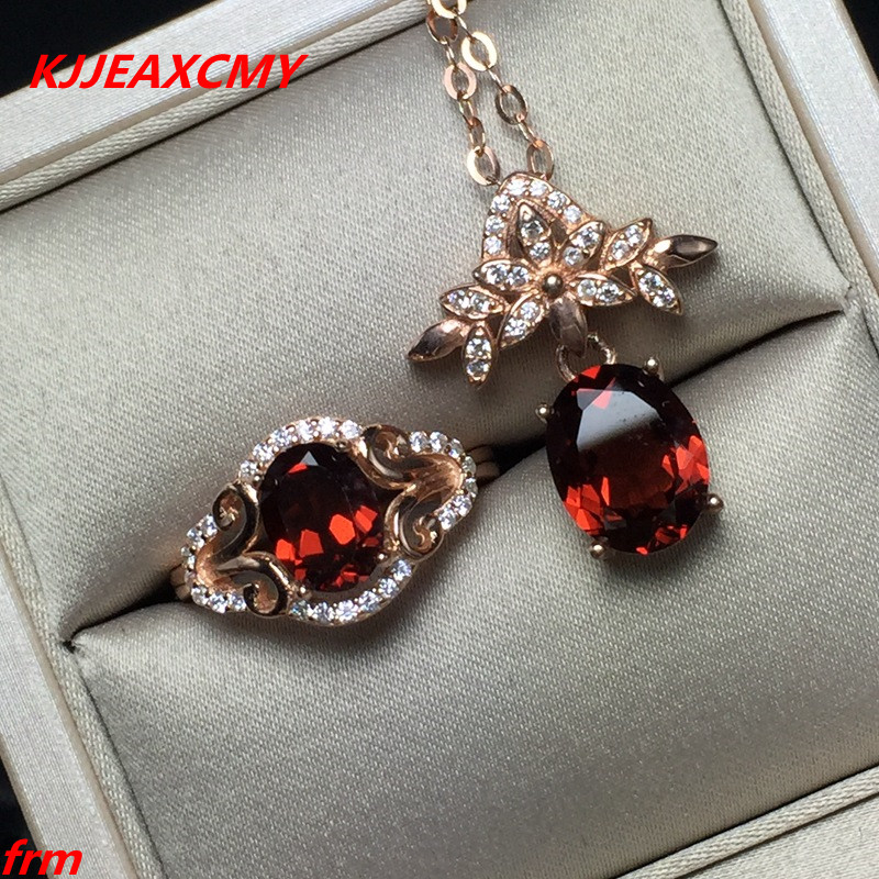 KJJEAXCMY Fine jewelry, 925 Sterling Silver Inlay Large Natural Garnet Lady Ring Pendant Set kjjeaxcmy fine jewelry 925 sterling silver ring pendant garnet red corundum jewelry ladies suits