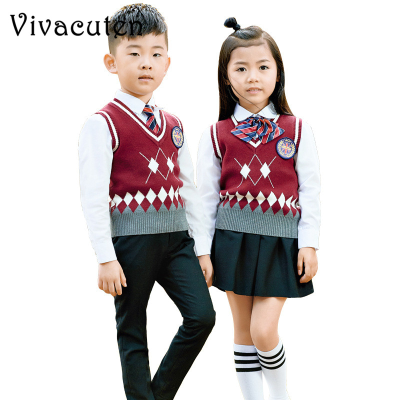 Boys Girls School Uniforms Kids Formal British Style Performing Suit Vest Shirt Pant Skirt Tie Badge Set Costume Clothes F115