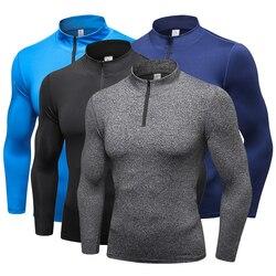 YD Новый длинным рукавом Spor футболка Для мужчин колготки с молнией быстросохнущая Для мужчин работает Футболка спортивная Для мужчин s футбо...