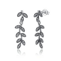 925 Sterling Silver Sparkling Leaves & Branches Drop Earrings Zircon Dangle Earring for Women Engagement Jewelry PAS466