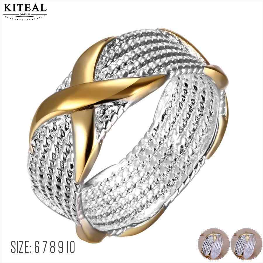 Kiteal 925 fine Fashion jewelry silver plated Ring gold Color Separation r X Silver Jewelry Ring Women Men Gift Finger Rings