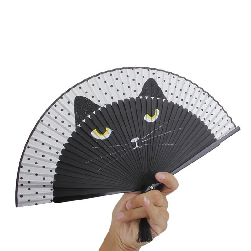1pc Decorative Fans Vintage Chinese Silk Fan Handheld Fan Cartoon Cat Printing Folding Home Decoration Crafts Dropshipping A3