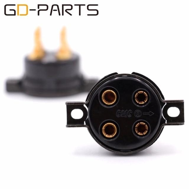 GD PARTS CMC baquelita 4pin toma de tubo para 2A3 300B FU 811 274A 572B chapado en oro cobre pin Hifi Vintage amplificador DIY