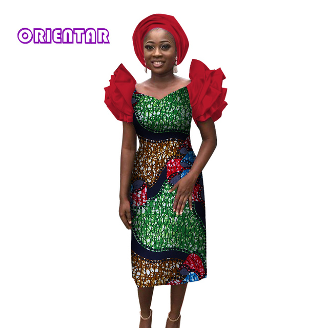 2018 Private Custom African Dresses For Wome Bazin Riche Women Dress Traditional Clothing Plus Size