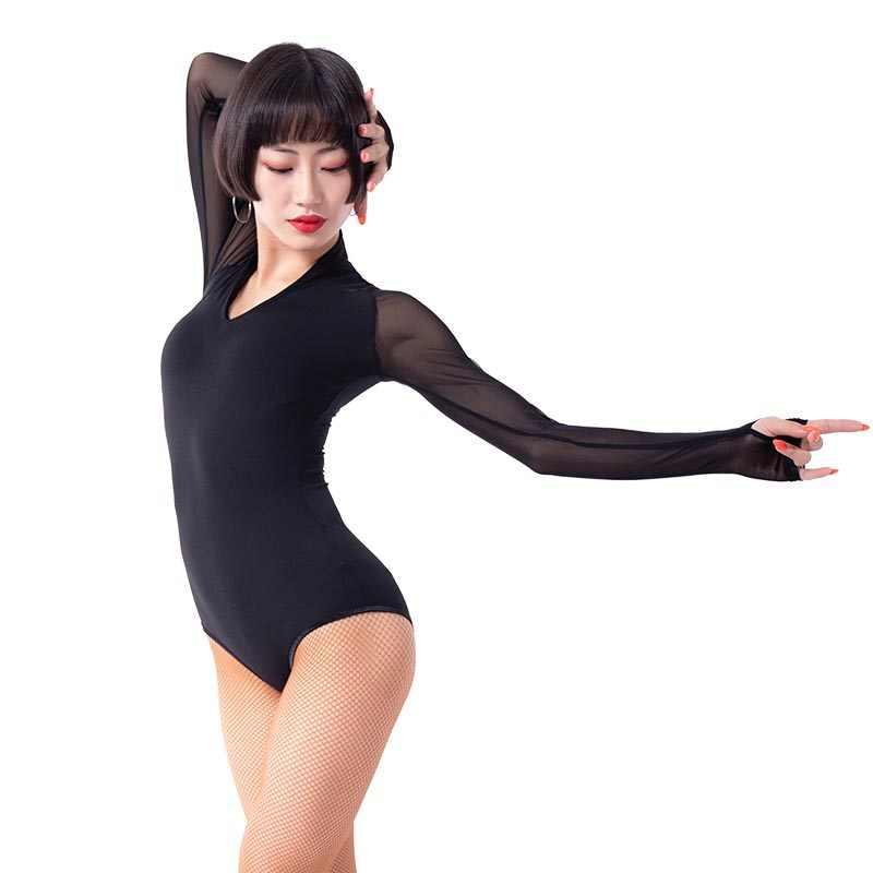 4a848adf73 Modern Ballroom gauze Long sleeve Sexy Latin dance top bodysuit for  female women