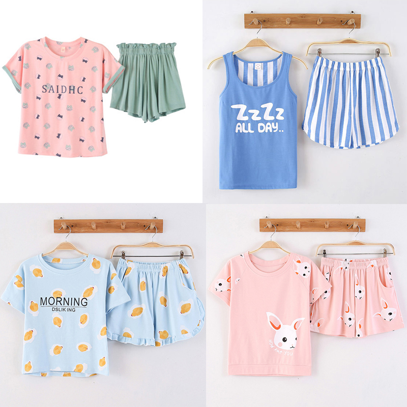 KISBINI 2019 New Summer Women Pajamas Set Cotton Letter Print Short Sleeve T-Shirt+Shorts Sleepwear Homewear 2Pcs Night Wear