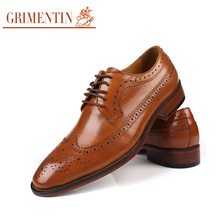 GRIMENTIN Brand vintage men oxford genuine leather black business male shoes