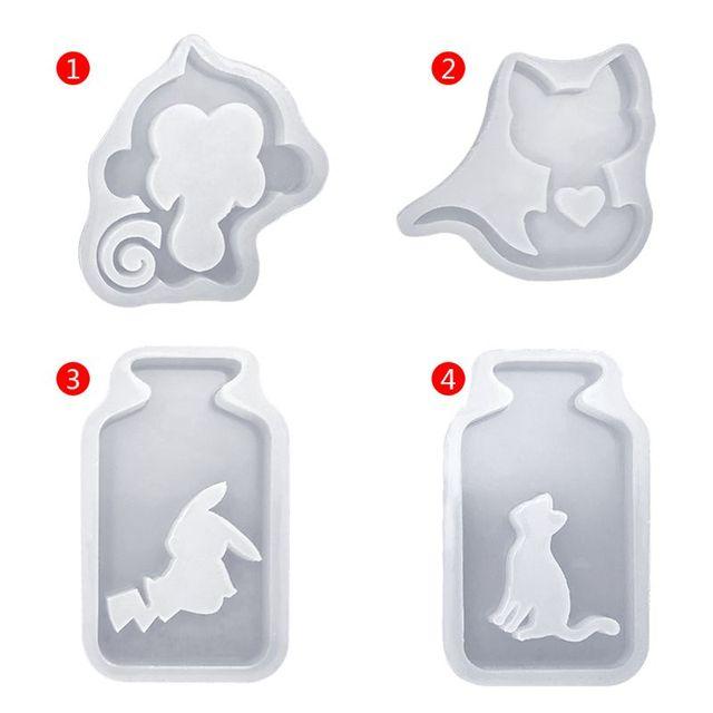 Silicone Mold DIY Crafts Art Monkey Hollow Animals Cat Kitten Epoxy Resin Squirrel Bottle Jewelry Pendant Mold Handmade Tools