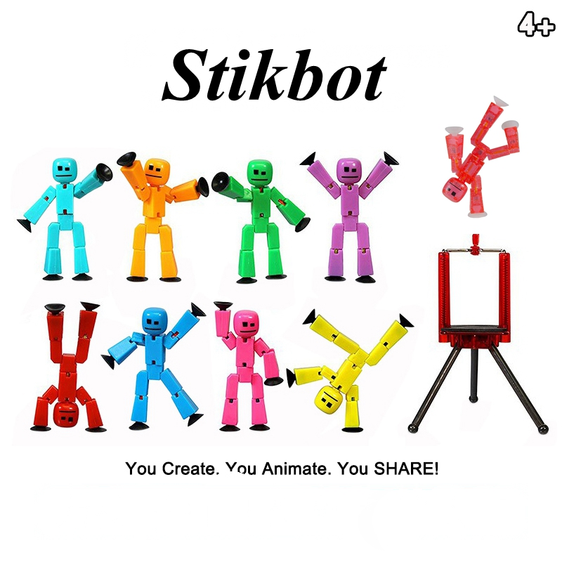 DIY StikBot Dolla Sucker Weapon Action Figure Role Play Sticky Robot Doll Creat Accessory Random Color Gift Toys