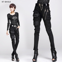 New Punk Style Cool Pants Pocket Zipper Harem Pants Stretch Skinny Pencil Pants Fashion Woman Pants