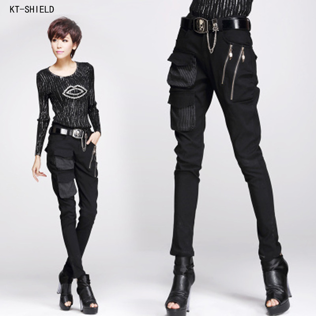 9d10605694 new punk style cool pants pocket zipper harem pants Stretch Skinny Pencil  Pants Fashion Woman Pants