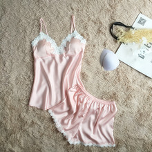 Women Pajamas Satin Sleepwear Spaghetti Strap with Chest Pads Silk Pijama Sexy Lace Sleep Lounge Nightwear