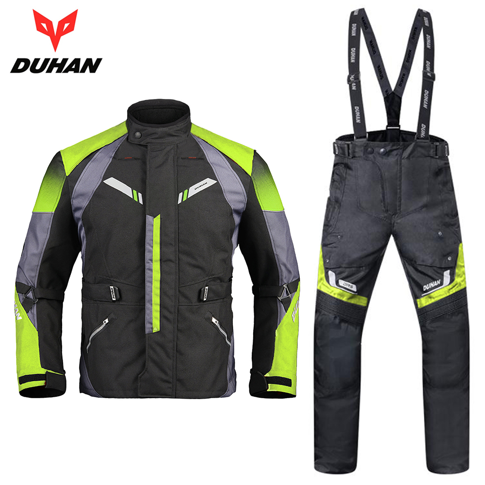 DUHAN Men Motorcycle Jacket Moto Autumn Winter Motorcycle Pants Suit Cold-proof Waterproof Touring Clothing Set Protective Gear scoyco waterproof riancoat suit reflective motorcycle clothing protective jacket waterproof moto jacket and motorcycle pants