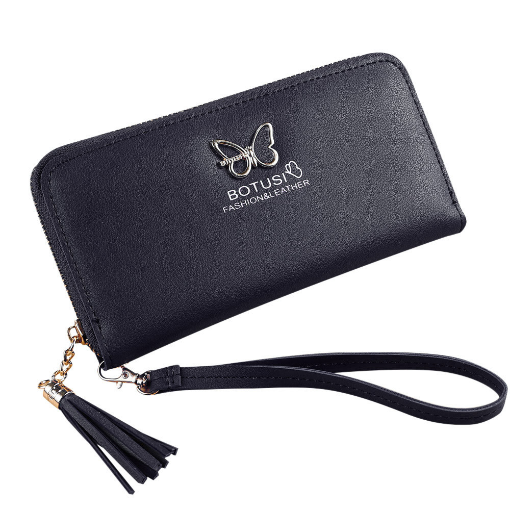 Women Simple Retro Leather Pure Color Zipper Long Wallet Coin Purse Card Holders Handbag monederos para mujer wallet  6.15 leather